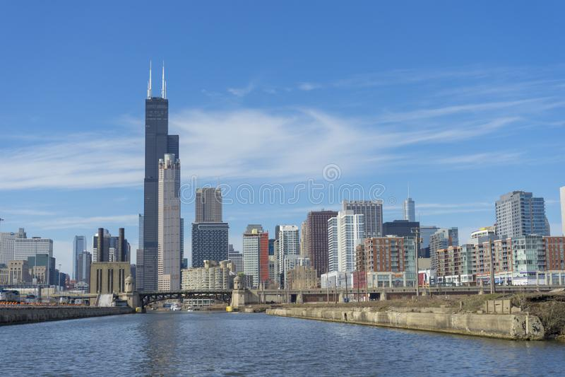 View of The Chicago River and skyscrapers in downtown Chicago,Illinois, USA stock images