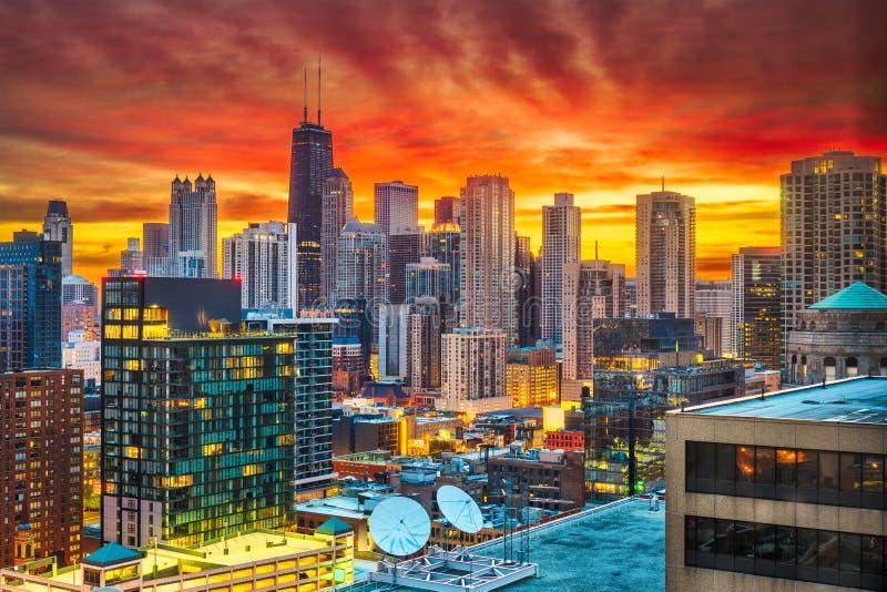 Chicago, Illinois, USA Dawn Skyline stockbild