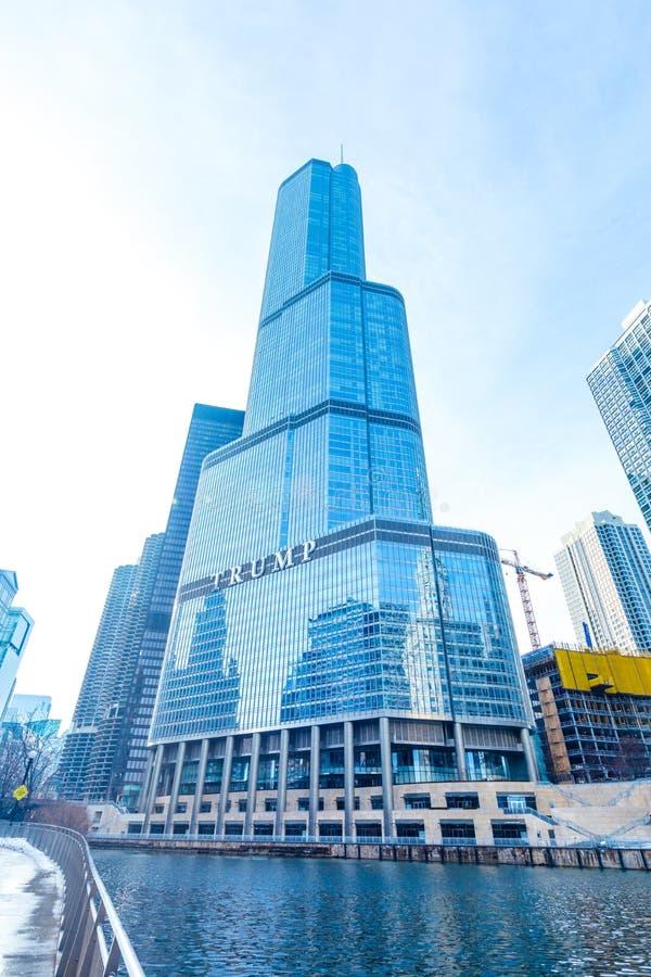 CHICAGO, ILLINOIS USA - 18. FEBRUAR 2018: Trumpf-Turm buildin lizenzfreies stockbild