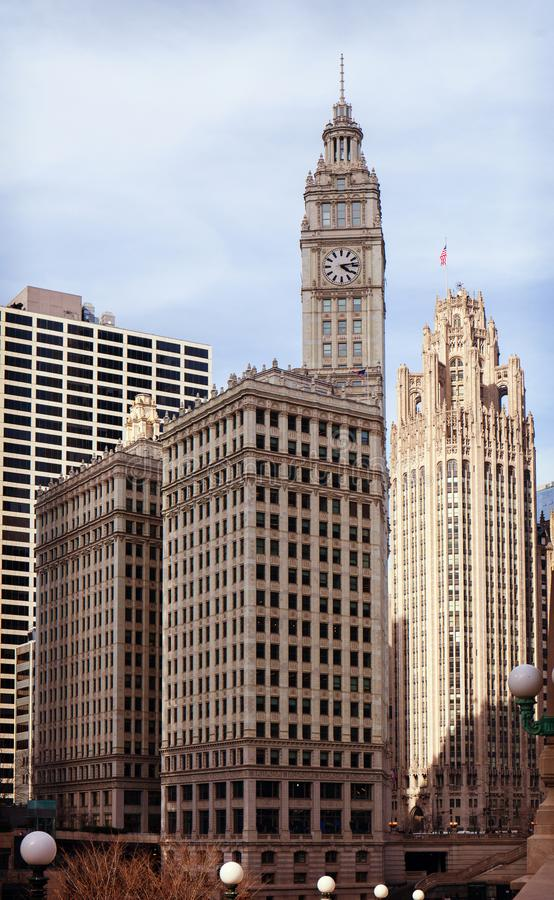 CHICAGO, ILLINOIS, USA - MÄRZ 2016: Eins der hinteren alten Teile der Chicago-Stadt - Überreste der Michigan-Alleen-Brücke lizenzfreie stockbilder