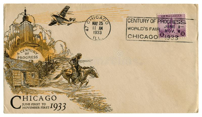 Chicago, Illinois usa - 25 1933 MAJ: USA dziejowa koperta: pokrywa z sztuki dystynkcją wiek postęp, purpurowy opłaty pocztowej st obraz royalty free
