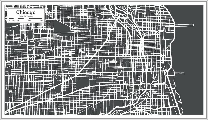 Chicago Illinois USA Map in Retro Style. stock illustration