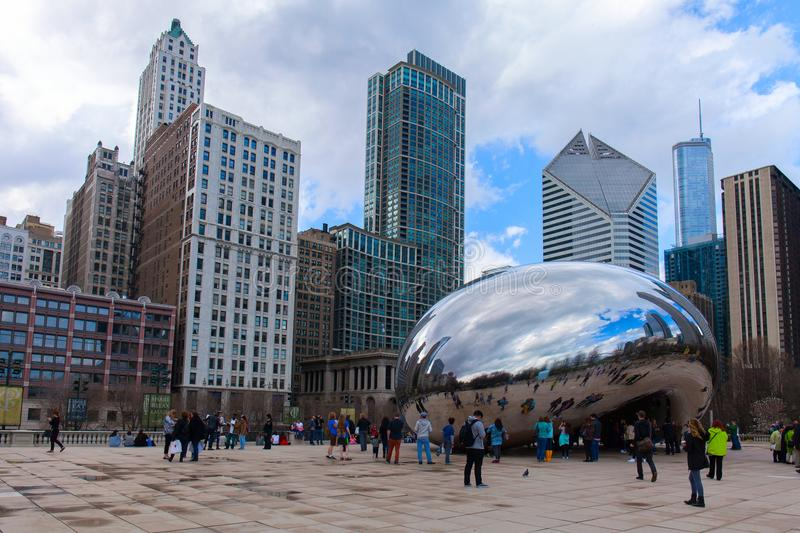 Chicago, Illinois, USA - March 29, 2016: Cloud Gate, a public sculpture by Anish Kapoor at Millennium Park, Nicknamed royalty free stock images