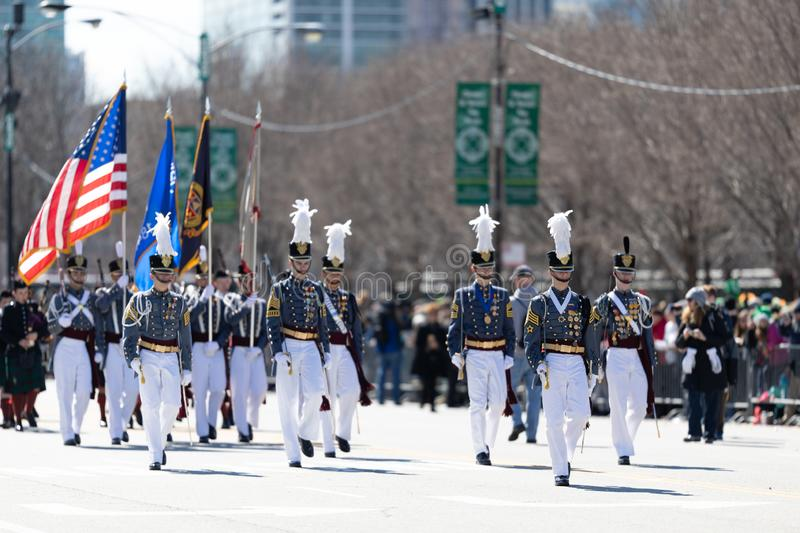 St. Patrick's Day Parade Chicago 2019. Chicago, Illinois, USA - March 16, 2019: St. Patrick's Day Parade, Members of the Johns Northwestern Military Academy from royalty free stock photography