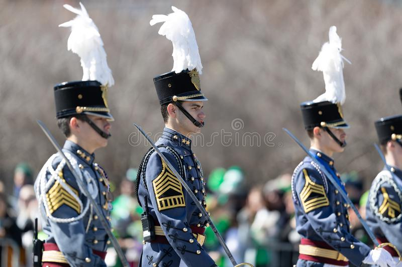 St. Patrick's Day Parade Chicago 2019. Chicago, Illinois, USA - March 16, 2019: St. Patrick's Day Parade, Members of the Johns Northwestern Military Academy from stock photography