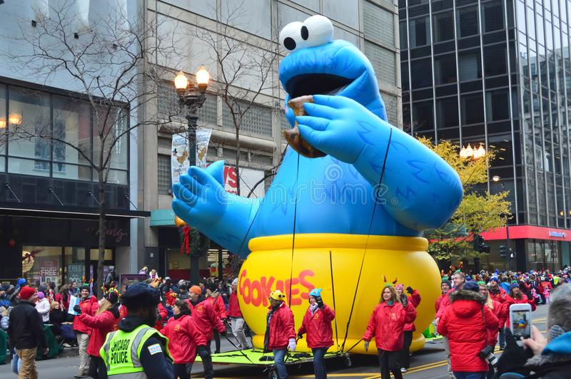 Chicago, Illinois - USA - November 24, 2016: Cookie Monster Balloon in McDonald`s Thanksgiving Street Parade. Chicago, Illinois - USA - November 24, 2016: Cookie royalty free stock image