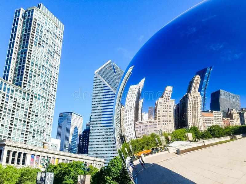 Chicago, Illinois, USA. 07 07 2018. Reflection of Chicago buildings in a Chicago Bean Cloud Gate royalty free stock photos
