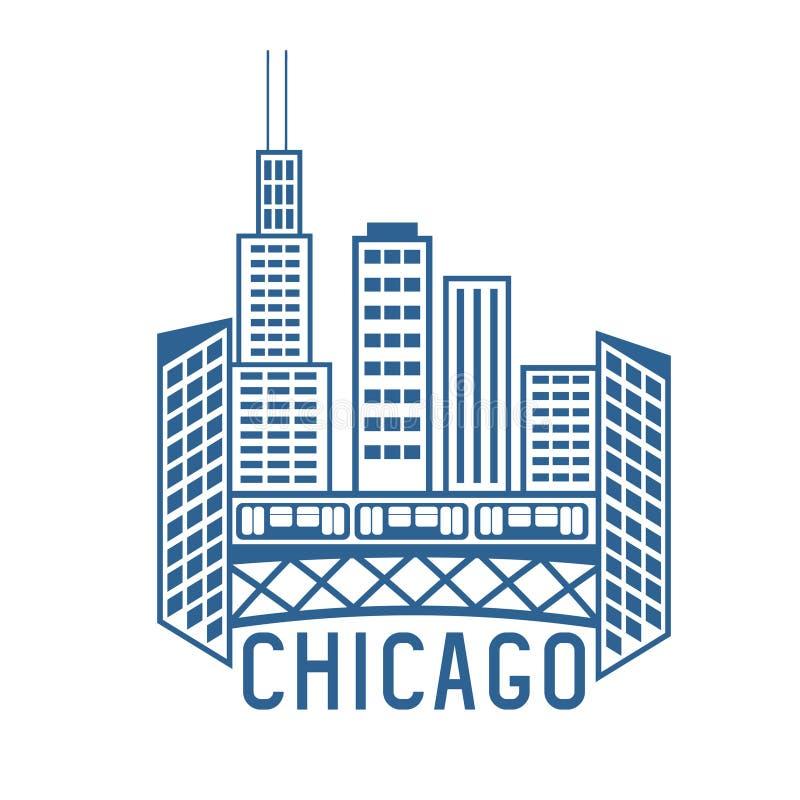 Chicago Illinois USA skyline design template stock illustration