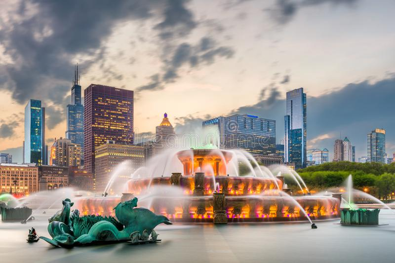 Chicago, Illinois, USA from Grant Park stock photo
