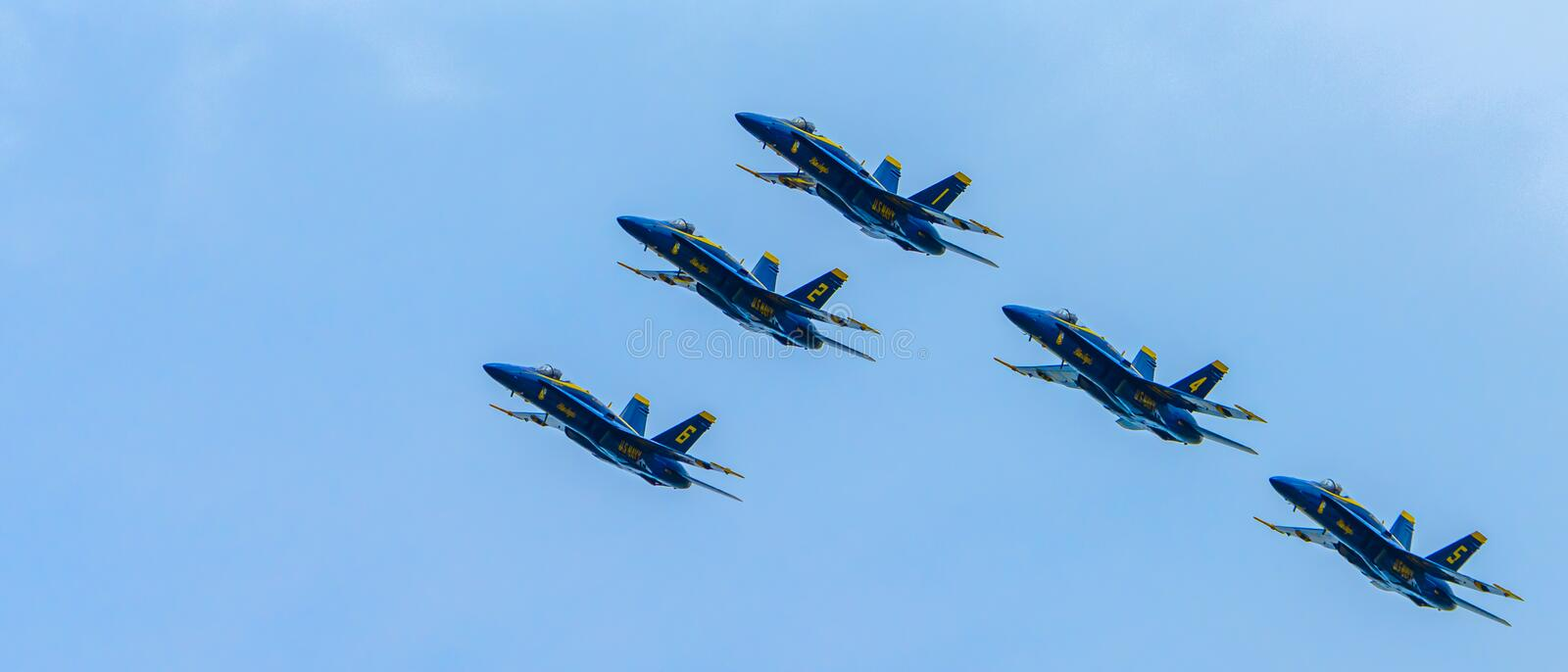 Chicago, Illinois - USA 08-18-2019 - US Navy Blue Angels Flying in Formation royalty free stock photos