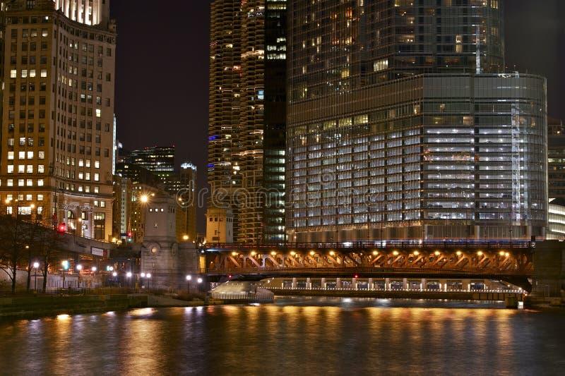 Chicago iluminada imágenes de archivo libres de regalías