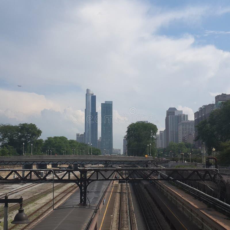 Chicago-im Stadtzentrum gelegenes Bahn-lifeinusa Epos stockbild