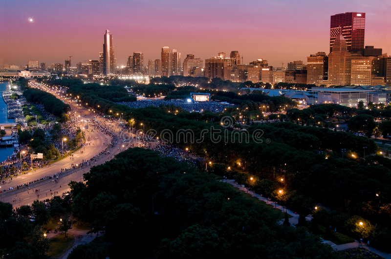 Chicago Independence Day. Night time aerial view of downtown Chicago lakefront during independence day festivities stock image