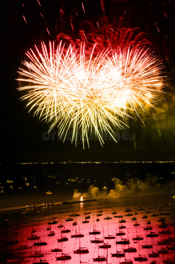 Chicago Independence Day Fireworks. Night time aerial view of downtown Chicago lakefront during independence day fireworks royalty free stock image