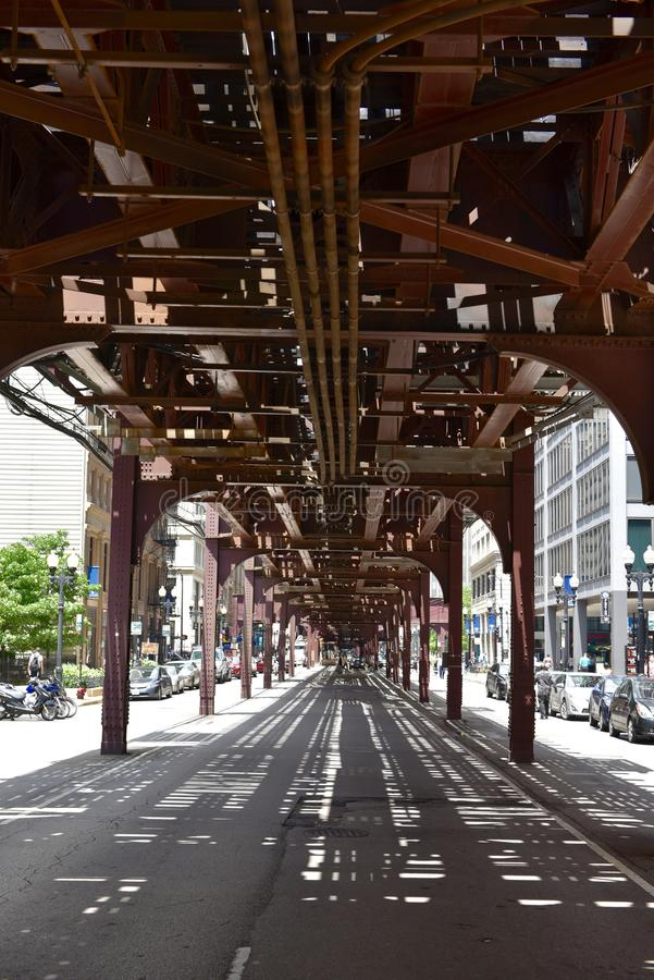 Chicago L Structure. This is a Summer picture of the Chicago L structure that forms the Loop located in downtown Chicago, Illinois. The structure creating the stock photography