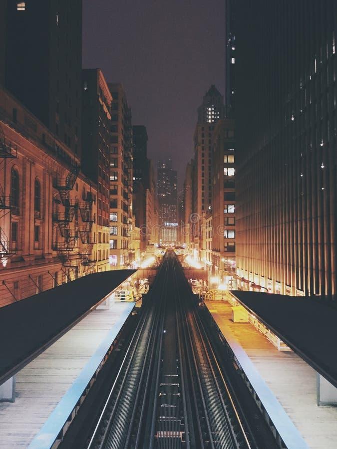 Chicago 'L' trilhas do trem foto de stock