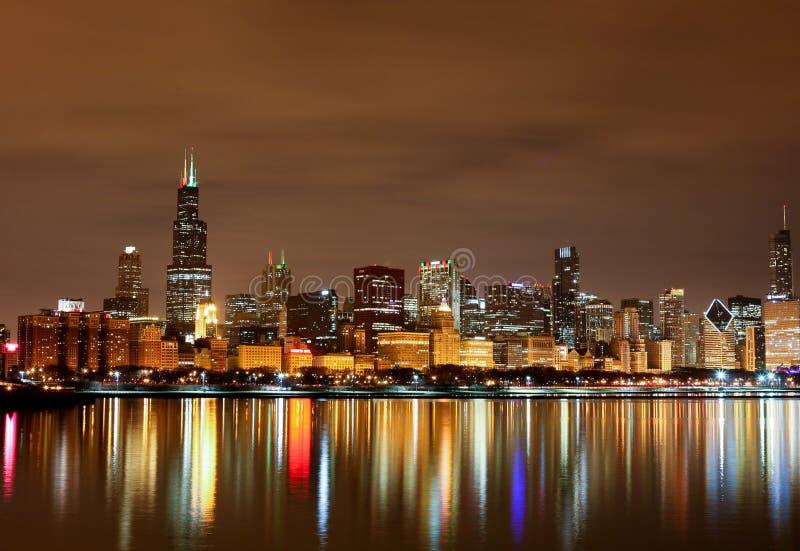 Chicago Lakefront på natt II royaltyfri bild