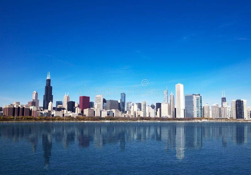 chicago lakemichigan horisont arkivbild