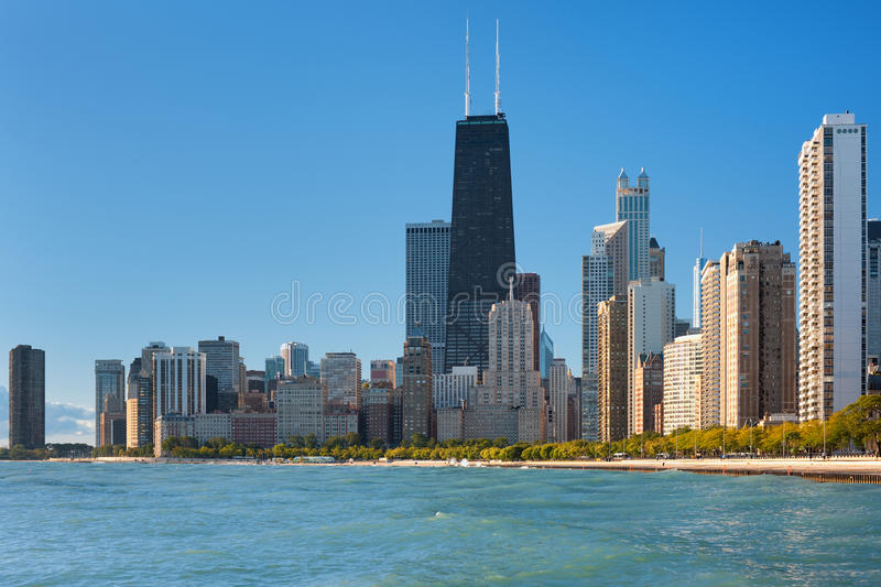 chicago lakemichigan sikt arkivfoto