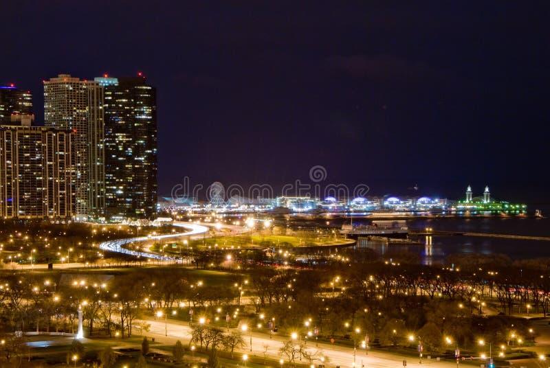 Chicago Lakeshore la nuit image libre de droits