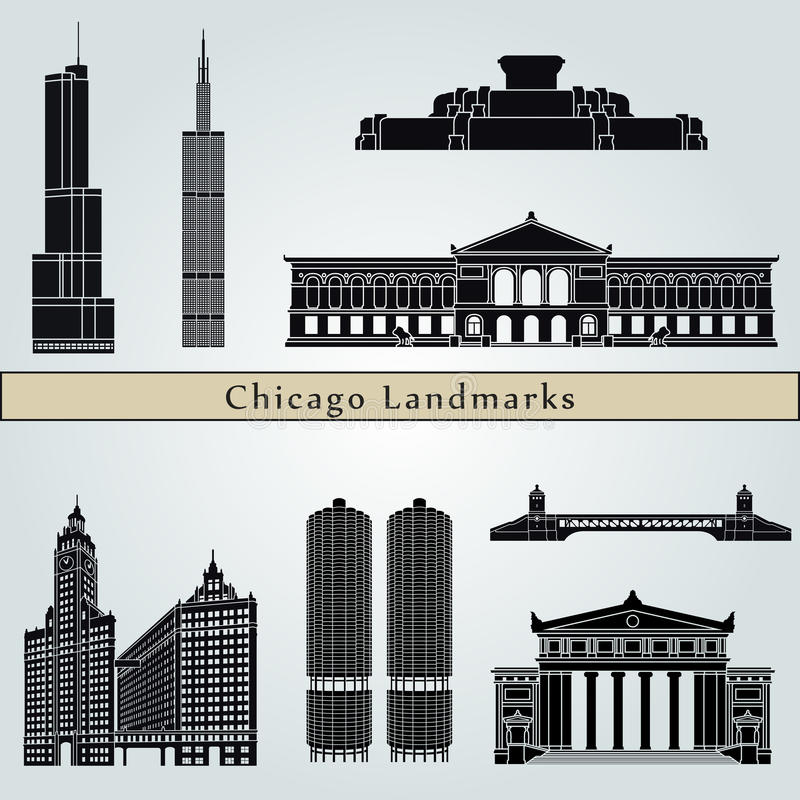 Chicago landmarks and monuments vector illustration