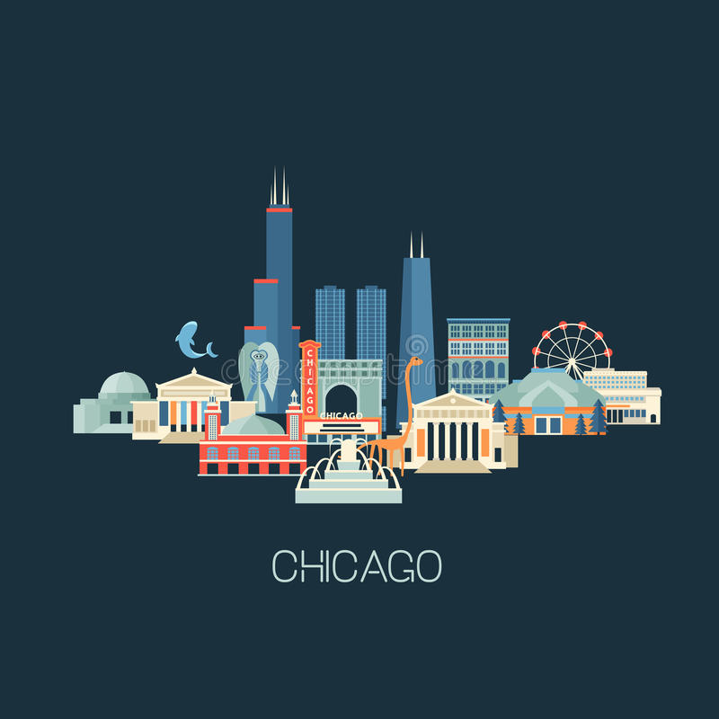 Chicago landmarks skyline. Vector illustration of Chicago skyline with famous landmarks. Greeting card or poster with historical buildings, sightseeing and royalty free illustration