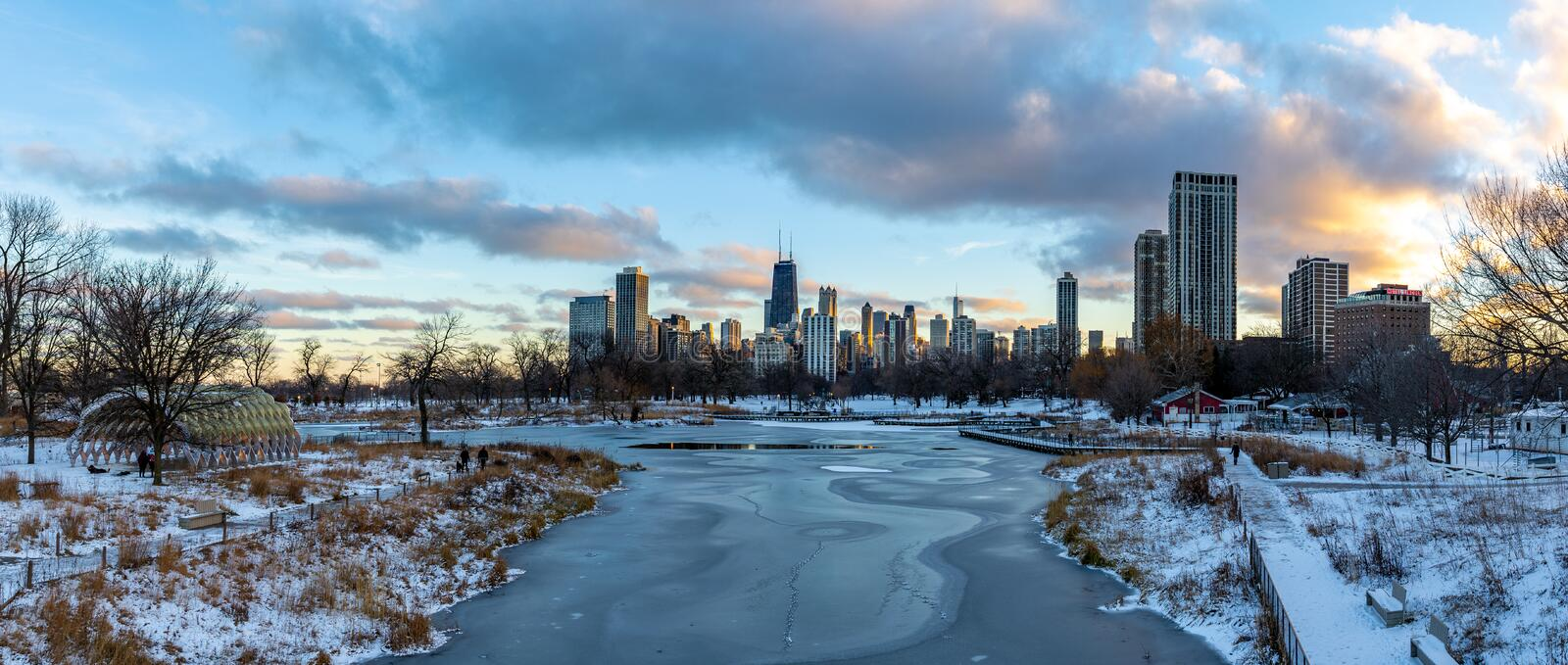 Chicago. Located on the shores of Lake Michigan, Chicago was incorporated as a city in 1837 near a portage between the Great Lakes and the Mississippi River royalty free stock photography