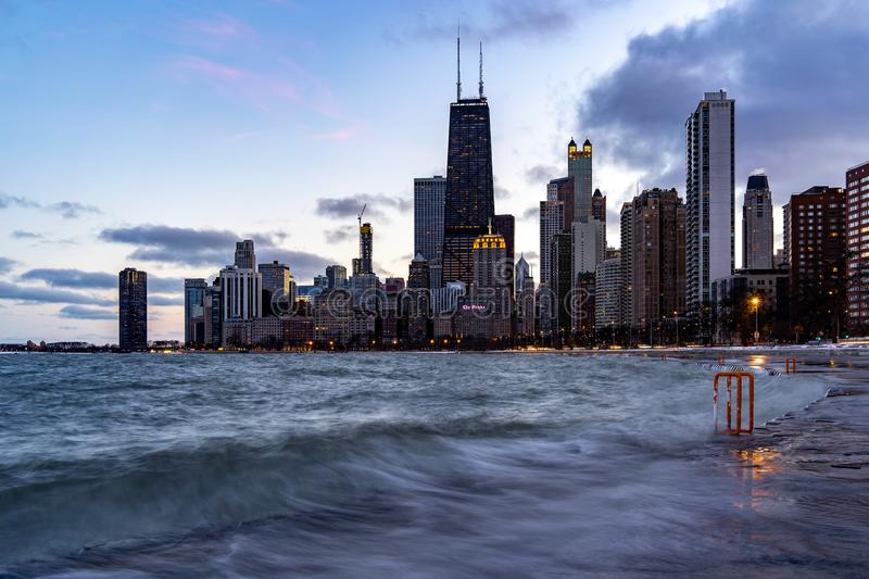 Chicago. Located on the shores of Lake Michigan, Chicago was incorporated as a city in 1837 near a portage between the Great Lakes and the Mississippi River stock photo