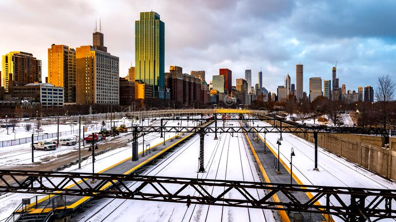Chicago. Located on the shores of Lake Michigan, Chicago was incorporated as a city in 1837 near a portage between the Great Lakes and the Mississippi River stock image