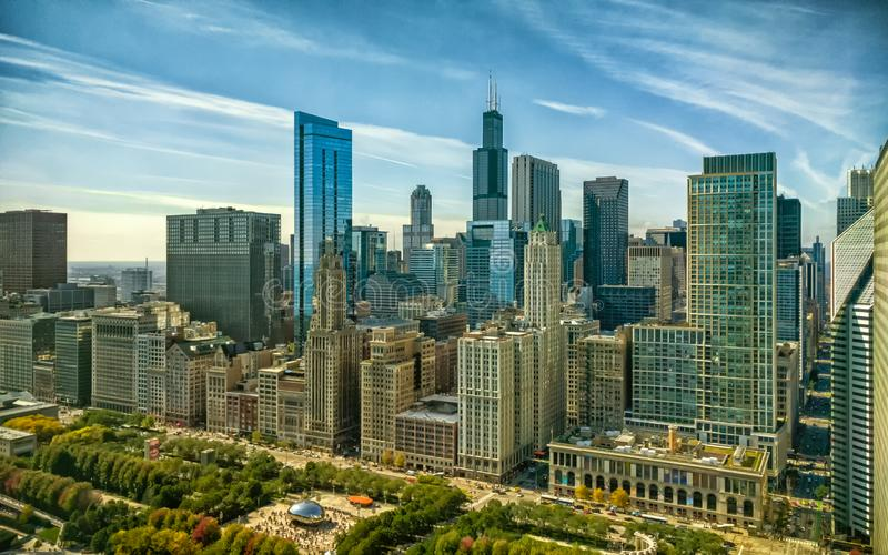 Chicago Loop cityscape at Michigan Avenue and Randolph Street. Urban aerial landscape. Illinois, USA stock photography