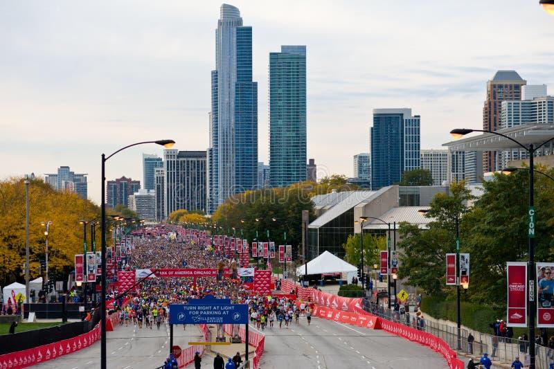 Chicago maraton arkivfoton