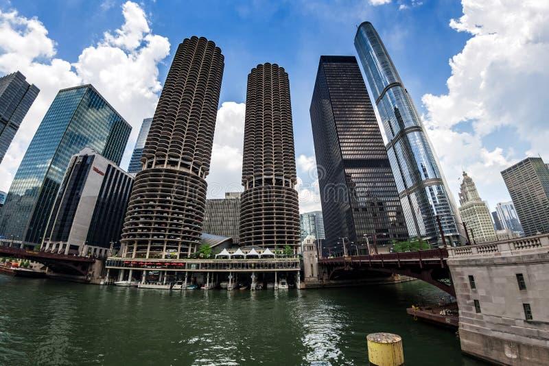 CHICAGO Marina City Complex, en Moderne Gebouwen royalty-vrije stock fotografie