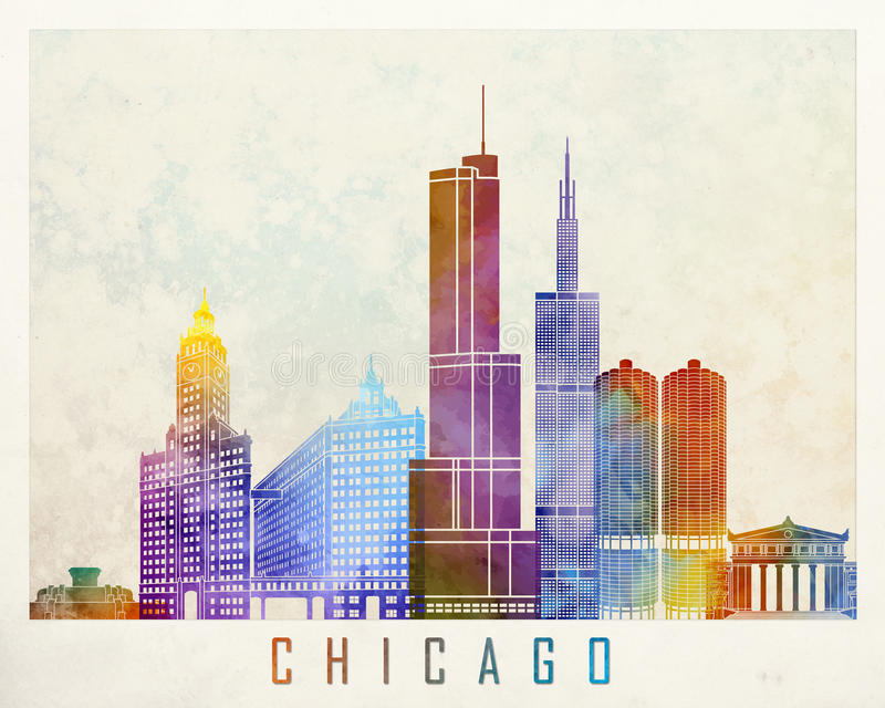 Chicago-Marksteinaquarell vektor abbildung