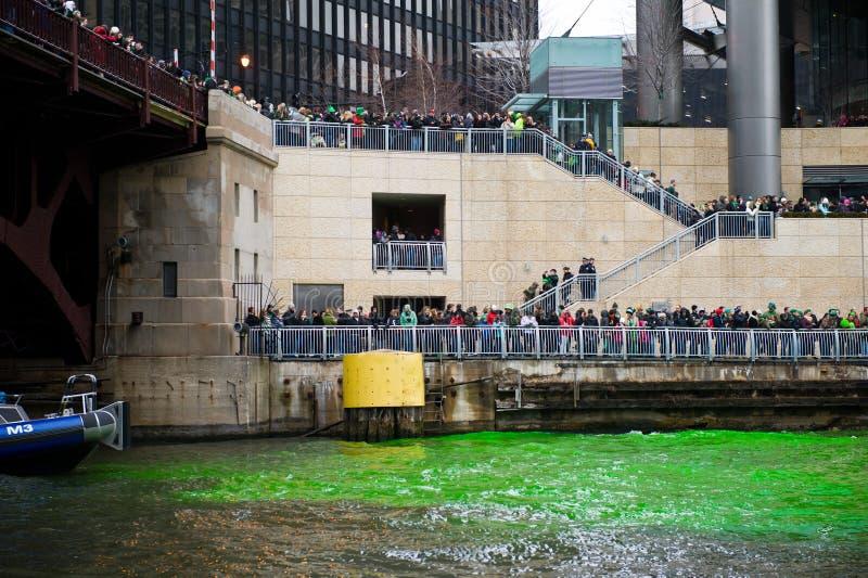 Teinture de la rivière Chicago image stock