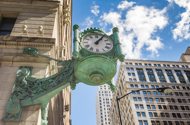 Chicago Marshall Field's Clock in downtown stock image