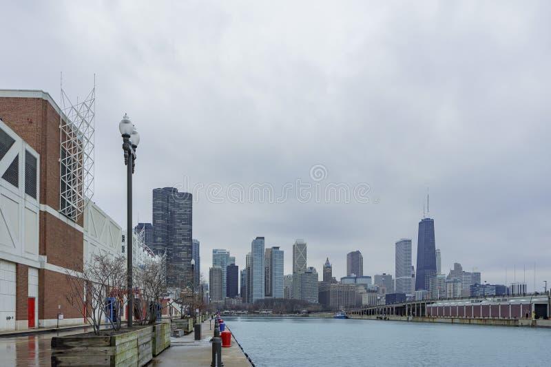 chicago marynarki wojennej mola linia horyzontu zdjęcie stock