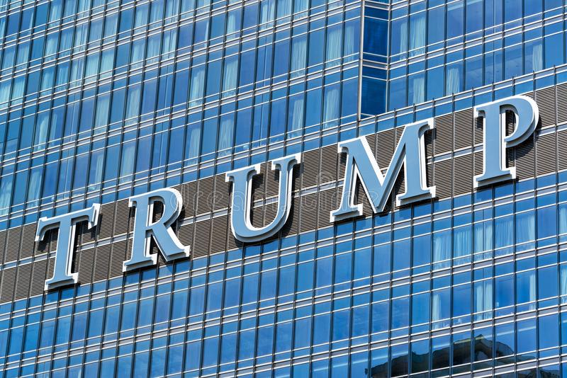Trump Tower Sign in Chicago. CHICAGO - MAY 12: Sign on Trump Tower in Chicago on May 12, 2017 royalty free stock photo