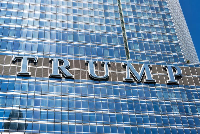 Sign on Trump Tower. CHICAGO - MAY 12: Trump sign on Trump Tower in downtown Chicago on May 12, 2017 stock photography