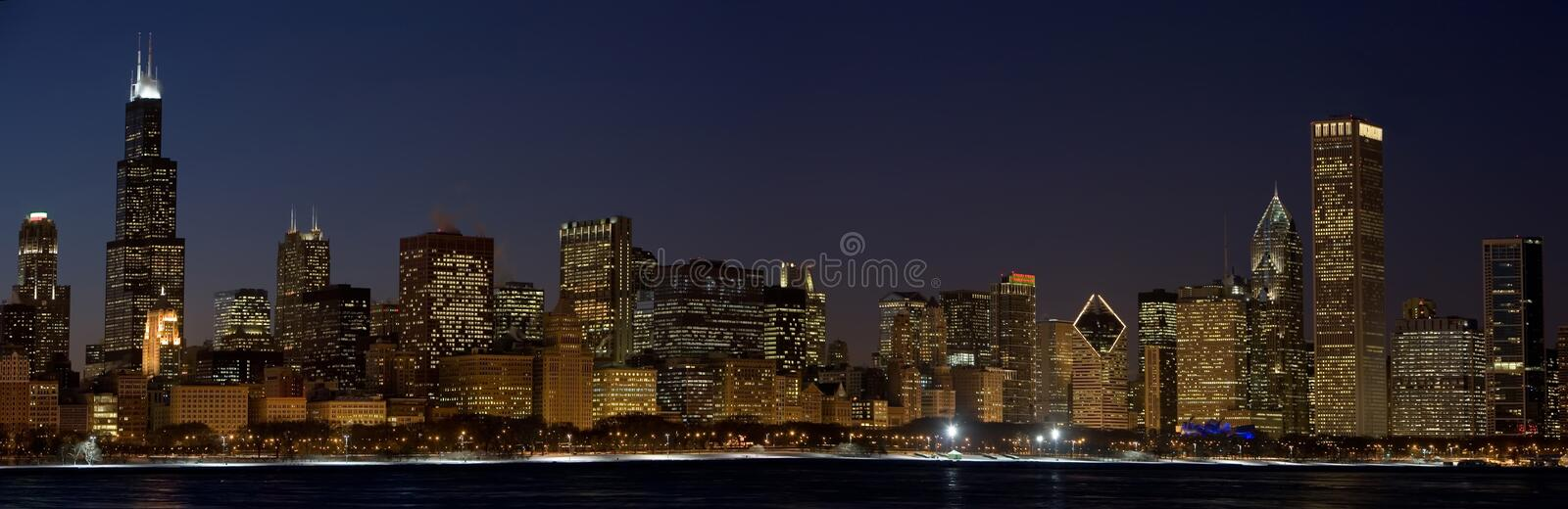 Chicago nachts stockfotografie
