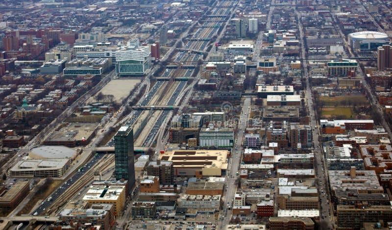 Chicago nahe Ansicht der Südseite und 290 Landstraße vom Himmel stockfoto