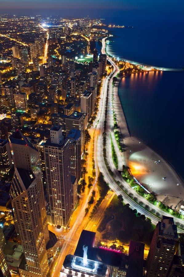 chicago natt arkivfoton