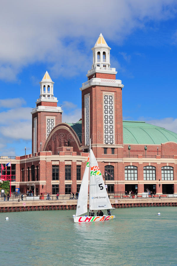 Chicago Navy Pier. CHICAGO, IL - Oct 1: Navy Pier and skyline on October 1, 2011 in Chicago, Illinois. It was built in 1916 as 3300 foot pier for tour and stock images