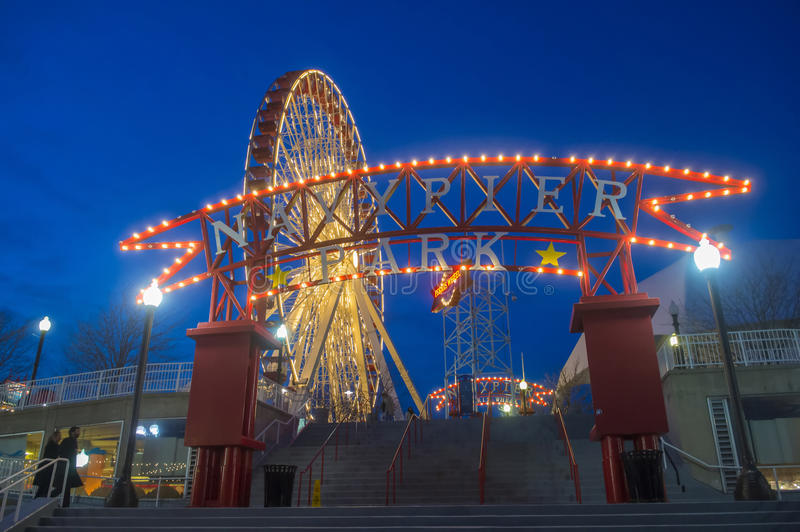 Chicago Navy pier. CHICAGO - MARCH 15 : The Navy pier in Chicago on March 15 2013 , The Navy pier built in 1916 as 3300 foot pier for tour and excursion boats royalty free stock image
