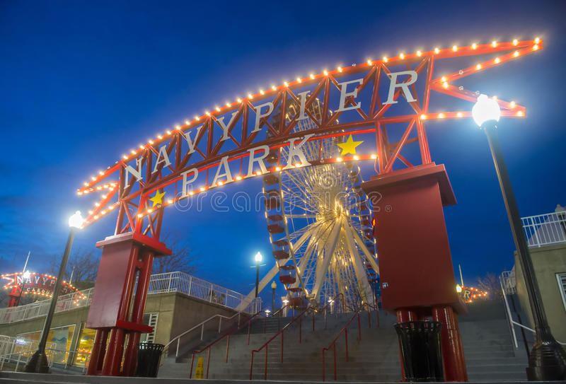 Chicago Navy pier. CHICAGO - MARCH 15 : The Navy pier in Chicago on March 15 2013 , The Navy pier built in 1916 as 3300 foot pier for tour and excursion boats stock images
