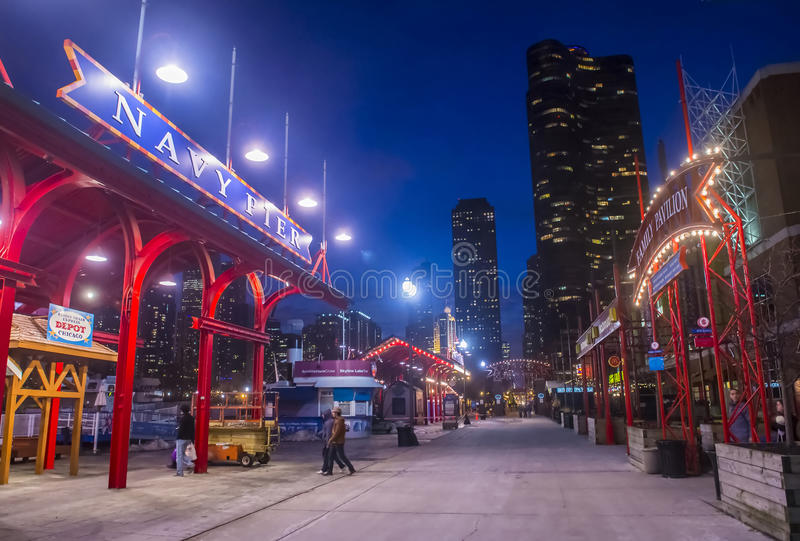 Chicago Navy pier. CHICAGO - MARCH 15 : The Navy pier in Chicago on March 15 2013 , The Navy pier built in 1916 as 3300 foot pier for tour and excursion boats stock image