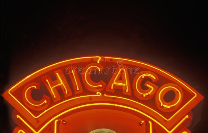 Chicago Neon Sign, Chicago, Illinois stock photos