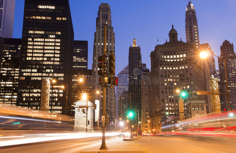 Download Chicago at night stock photo. Image of night, architecture - 17140416