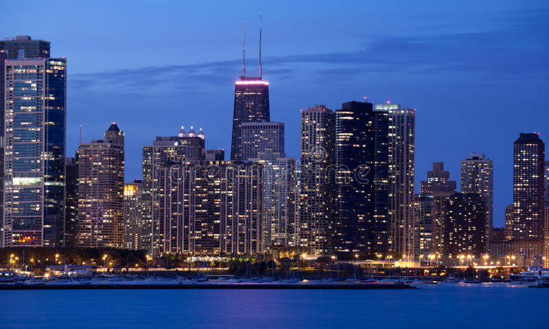 Download Chicago at night stock image. Image of business, landscape - 19461693