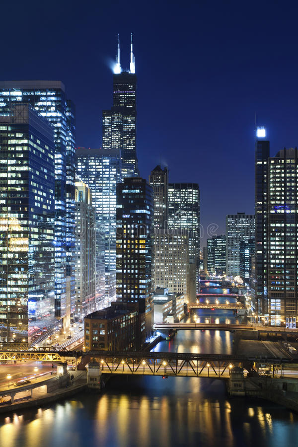 Download Chicago at night. stock image. Image of built, outdoors - 28666897