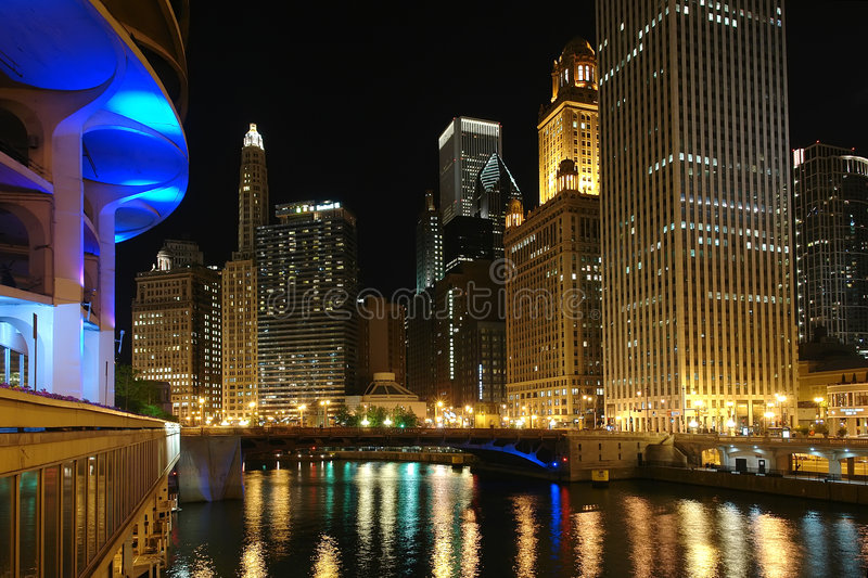 Download Chicago at night stock image. Image of equipment, modern - 5711421